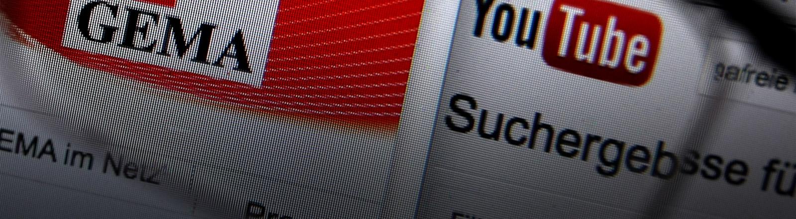 Das Gema- und Youtube-Logo von einem Bildschirm abfotografiert