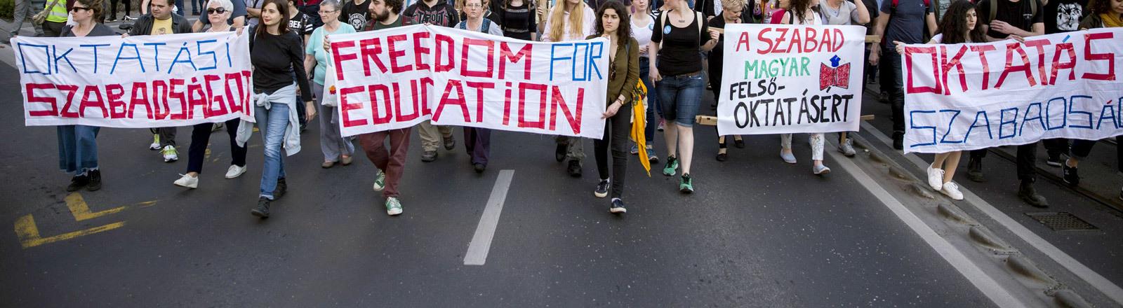 Demonstration in Budapest gegen das neue Hochschulgesetz