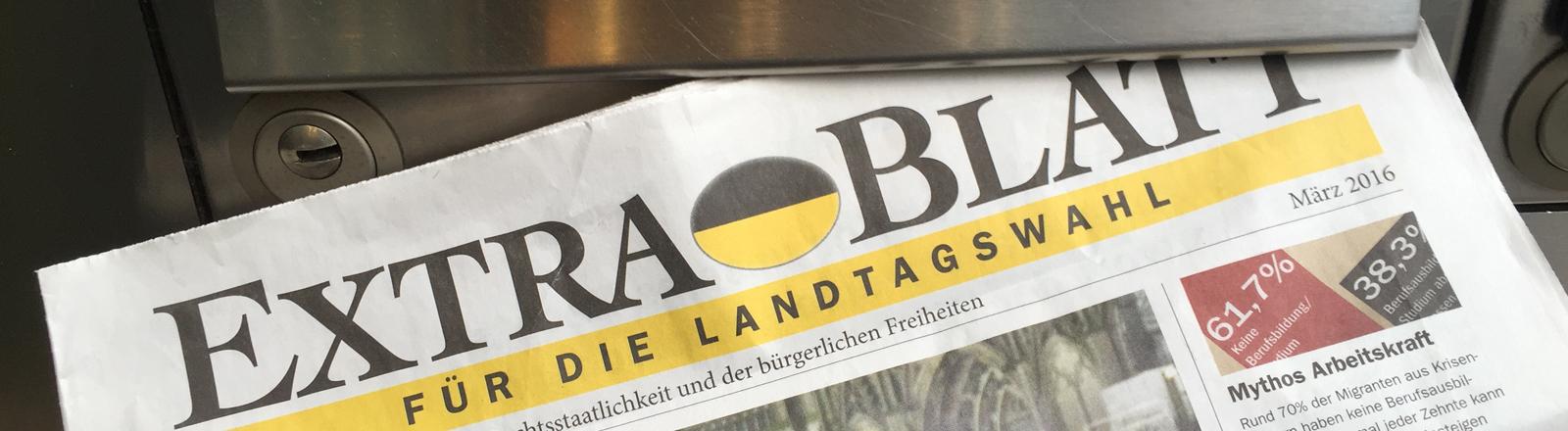 """""""Extrablatt"""" - Wahlwerbung für die AfD im Briefkasten"""