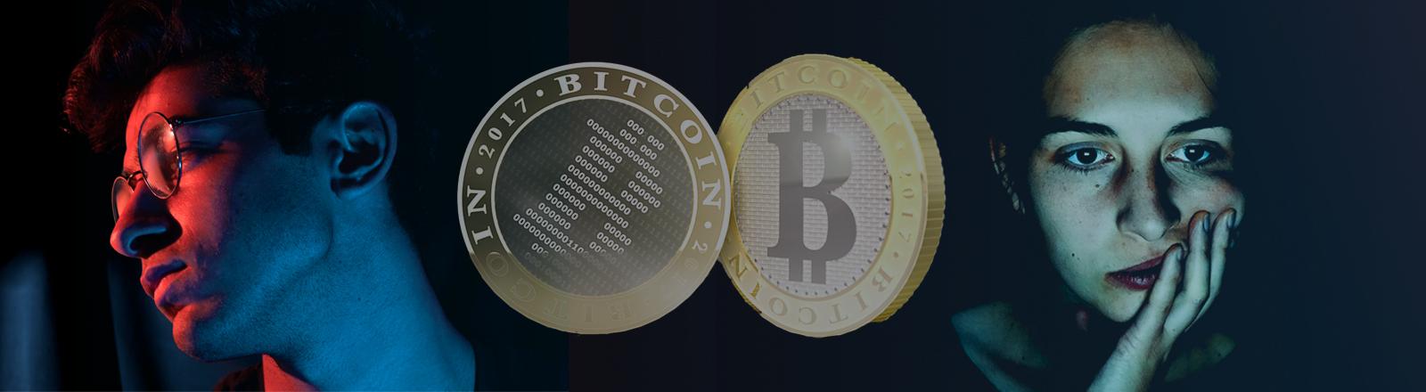 Collage; Verwzeifelte Menschen und Bitcoins