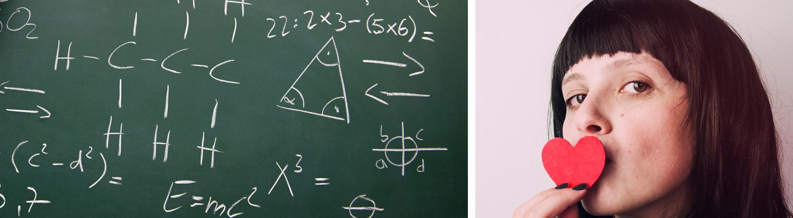 Matheformeln und Frau mit Herz