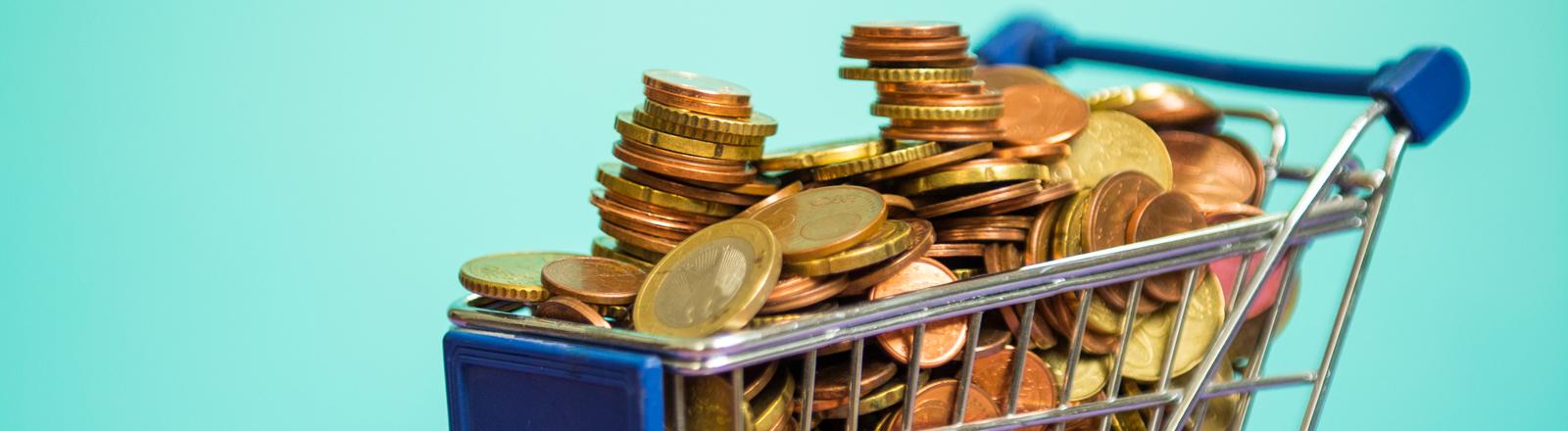 Kleiner Einkaufswagen voller Euros