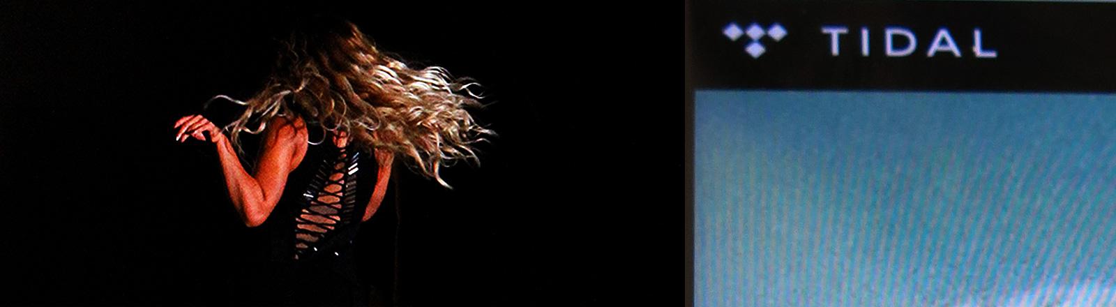 Beyoncé neben dem Tidal-Logo