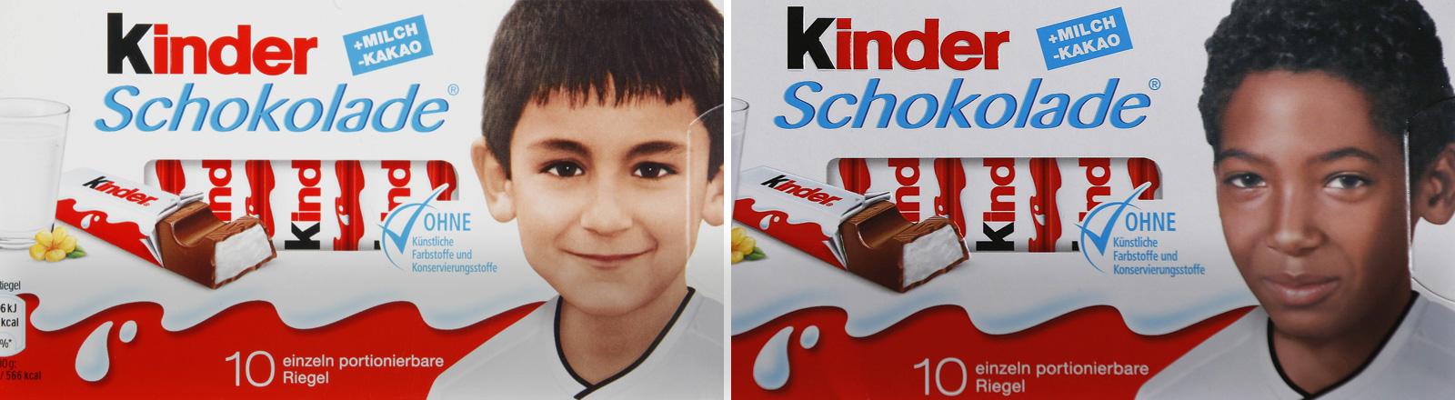 Kinderfotos von Ilkay Gündogan und Jérôme Boateng auf Kinderschokolade-Verpackungen.