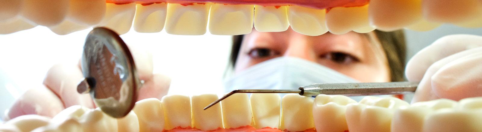 Eine Zahnarzthelferin posiert am 31.03.2014 in einer Zahnarztpraxis in Hannover (Niedersachsen) hinter einem künstlichen, überdimensioniertem Gebiss