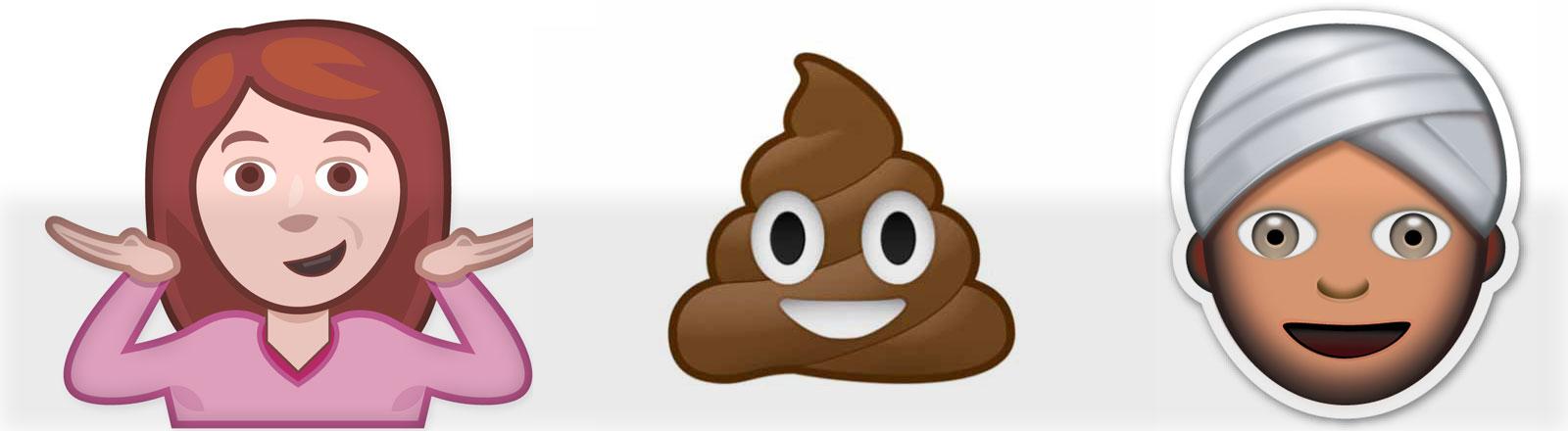 Die Emojis: ein Mädchen, ein Kackhaufen ein Mann mit Turban.
