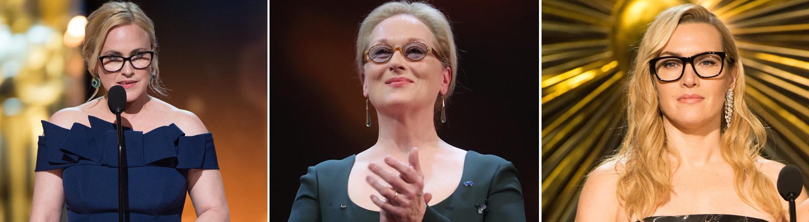 Kate Winslet, Meryl Streep und Patricia Arquette - alle drei mit Brille.