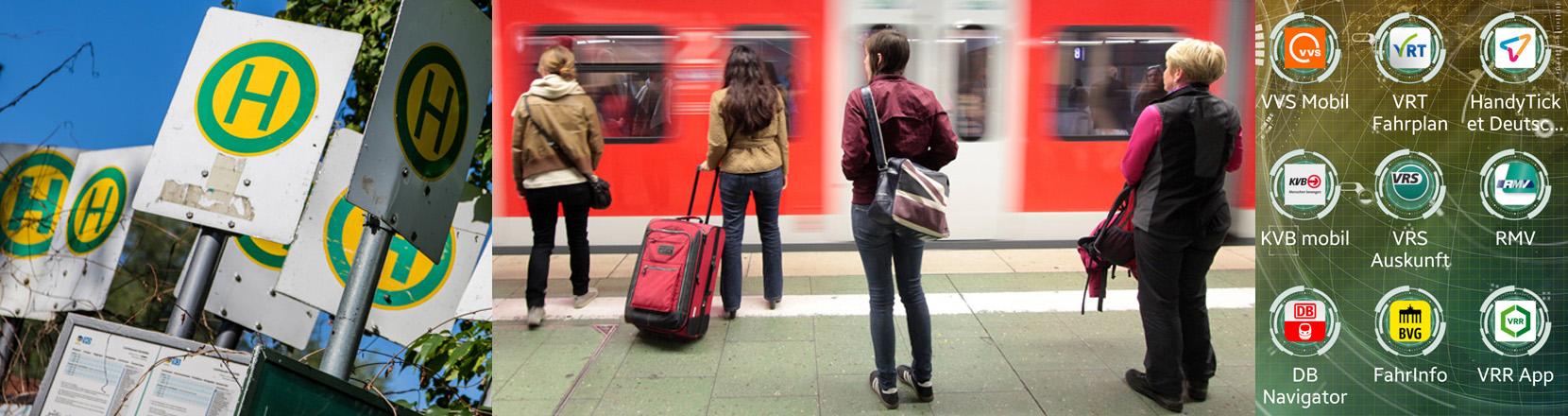 Haltestellenschilder, wartende Menschen vor einer Bahn, Reise-Apps auf einem Display