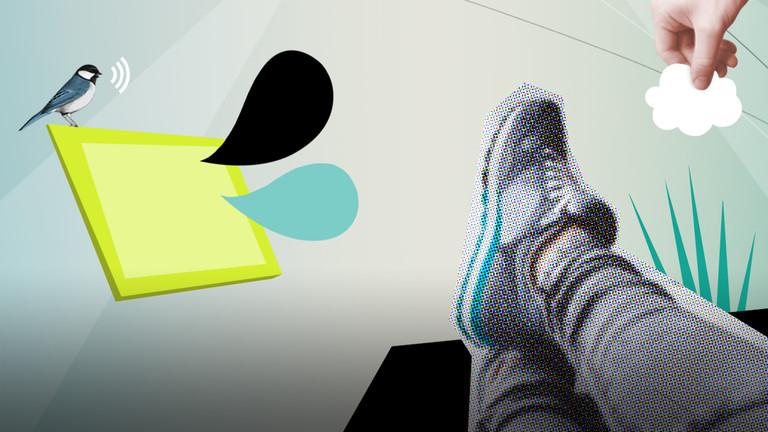 Grafische Darstellung einer Person, die auf dem Boden liegt, vor sich ein Tablet, dahinter ein Vögelchen.