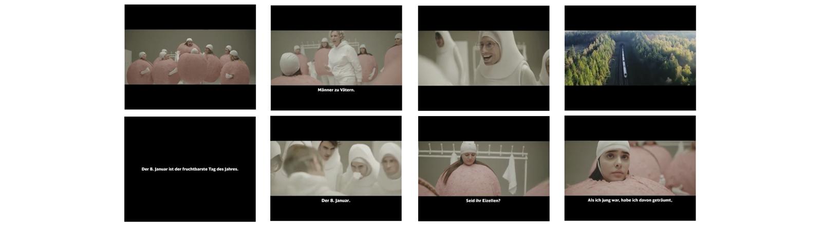 Aufgeregte Spermien und hüpfende Eizellen: Szenen aus dem Bahn-Werbespot