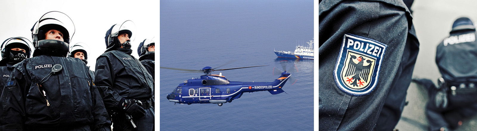 Bereitschaftspolizei beim Einsatz | Hubschrauber und Schiff | Logo der Polizei auf einem Ärmel