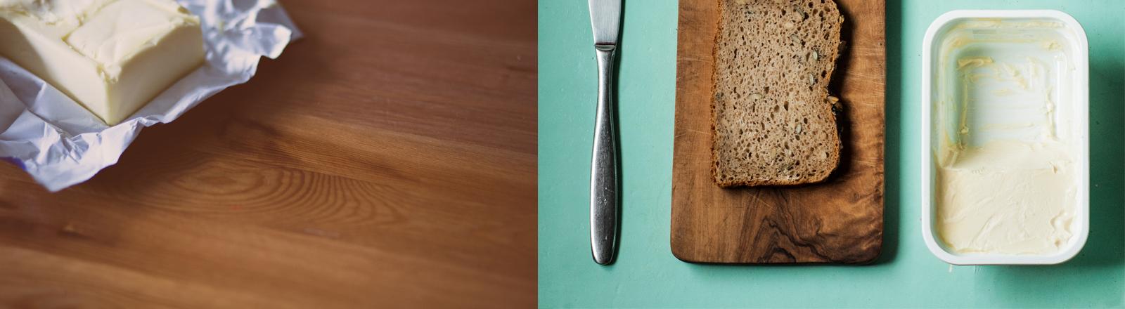 Ein Stück Butter und ein Brettchen mit einer Scheibe Brot, einem Messer und einer Packung Margarine.