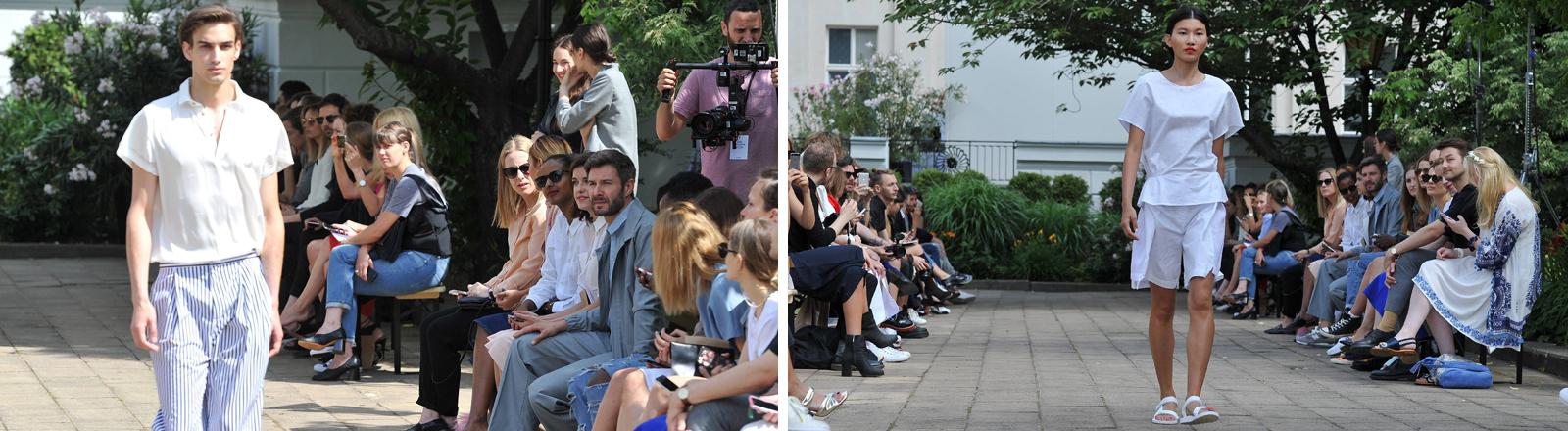 Bei der Hien Le Modenschau im Rahmen der Fashion Week Berlin gehen Männer und Frauen gemeinsam über den Laufsteg.