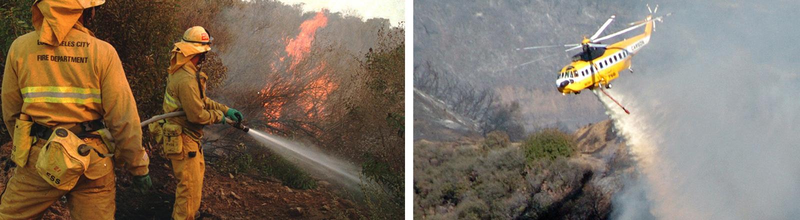 Feuerwehrmänner, die im November 2018 Waldbrände in Kalifornien löschen. Und eine Helikopter, der über einem Waldbrand eine Ladung Wasser ablässt.