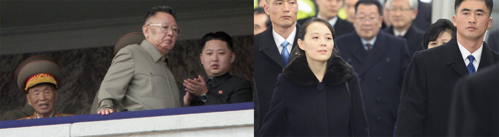 Kim Jong-Il und sein Sohn und Nachfolger Kim Jong-Un zeigen sich im Jahr 2010 beim Besuch einer Militärparade. Rechts: Kim Yo Jong, die Schwester des Herrschers, beim Besuch der olympischen Spiele im Februar 2018