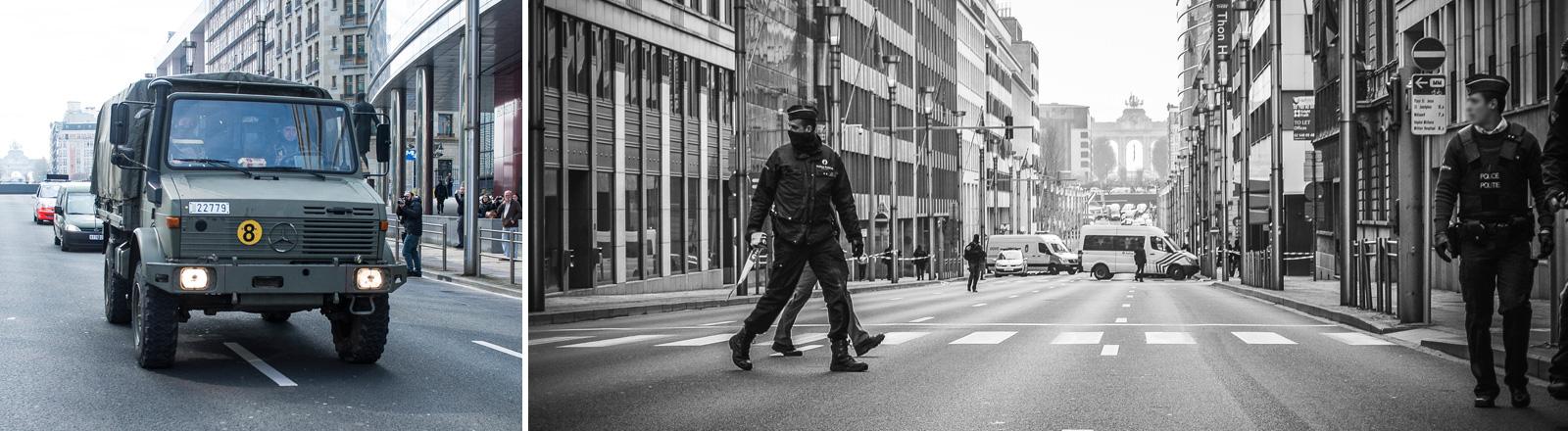 Die Polizei sichert die Rue de la Loi in Brüssel nachdem in der naheliegenden U-Bahn-Station Maelbeek eine Bombe explodiert ist.