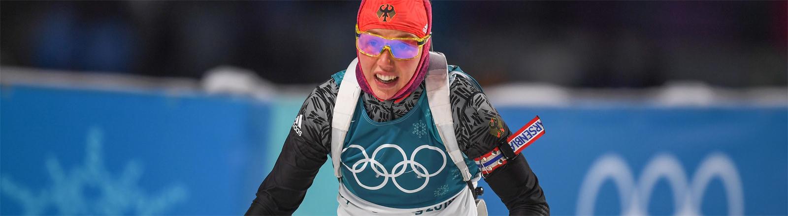 Die deutsche Biathletin Laura Dahlmeier bei den Olympischen Winterspielen in Pyeongchang
