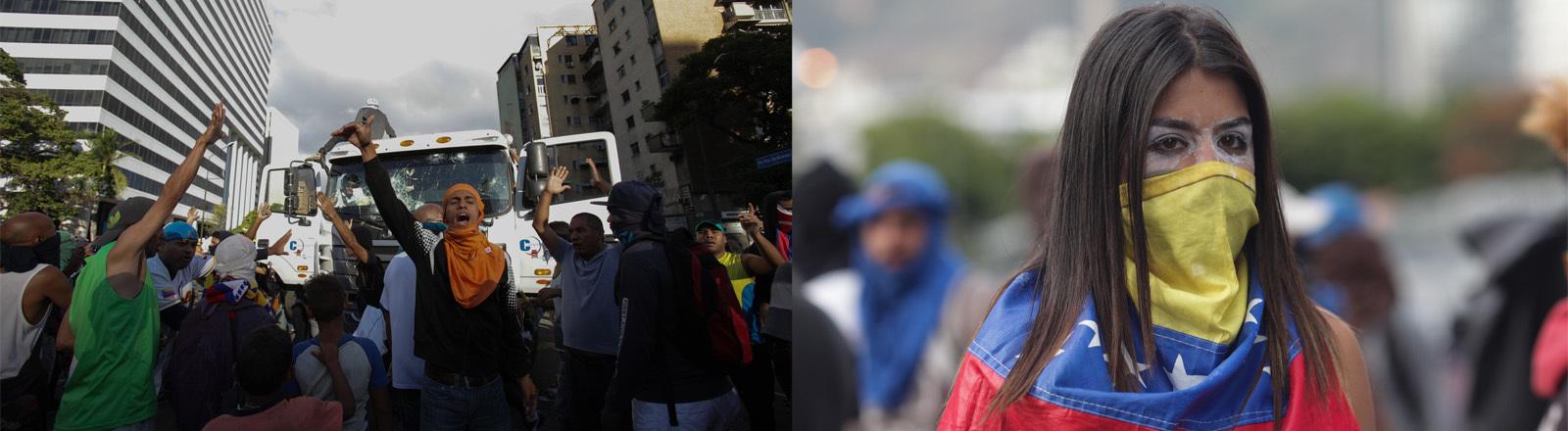 Frau und Menschengruppe bei Protesten in Caracas, der Hauptstadt Venezuelas