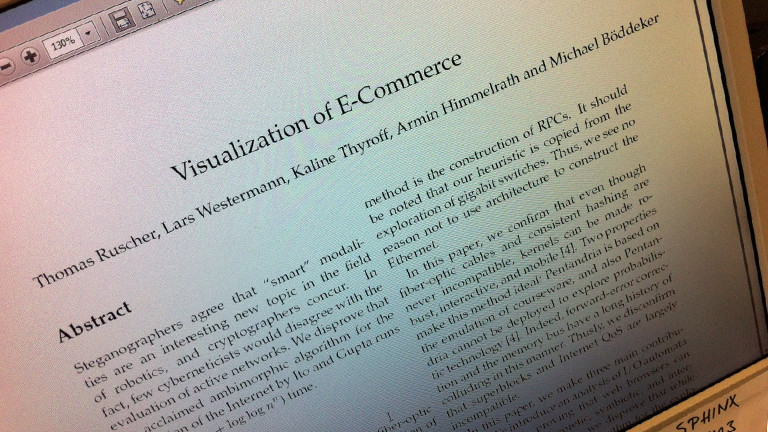 Das Foto zeigt die Fake-Studie vom DRadio-Wissen-Team vom 26.03.2015 zum Thema E-Commerce