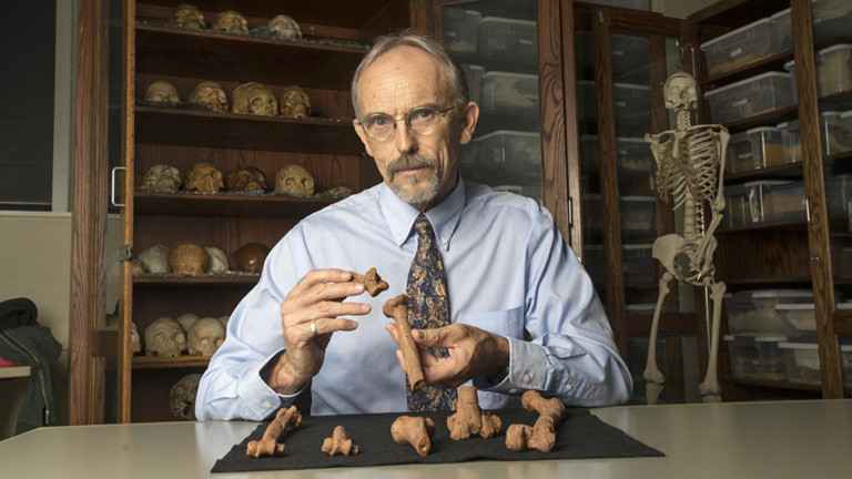 John Kappelman hat die fossilen Überreste von Lucy untersucht. Er sitzt an seinem Schreibtisch und hält 3D-Drucke von Lucys Knochen in den Händen; Foto: dpa