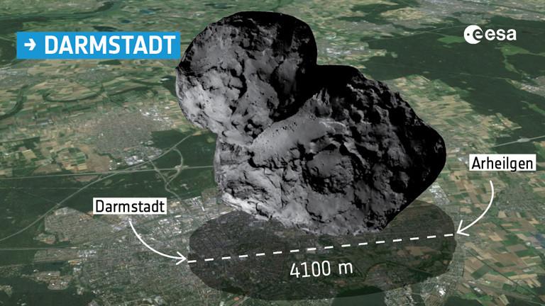 Animation des Kometen 67P im Größenvergleich mit der Stadt Darmstadt.