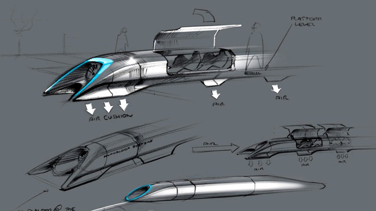 Skizze einer Hyperloop-Kapsel.