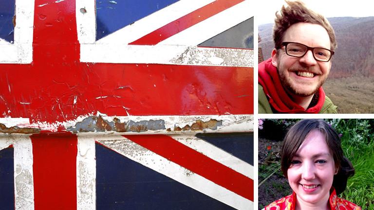 Eine heruntergekommen Flagge daneben Porträts von Lucy Scantons und Niels Walker.