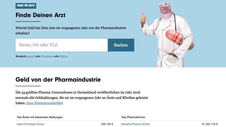 """Screenshot der Webanwendung, Titel """"Finde deinen Arzt"""""""