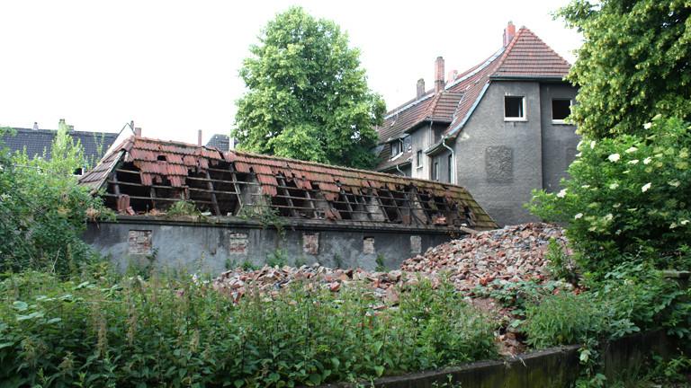 Ansicht einer alten Zechensiedlung im Ruhrgebiet.
