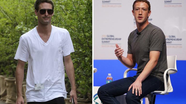 Links Evan Thomas Spiegel, Gründer von Snapchat, rechts Mark Zuckerberg von Facebook.