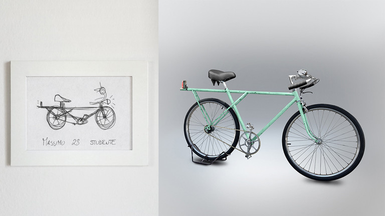 Ein Fahrrad designed nach einer Zeichnung