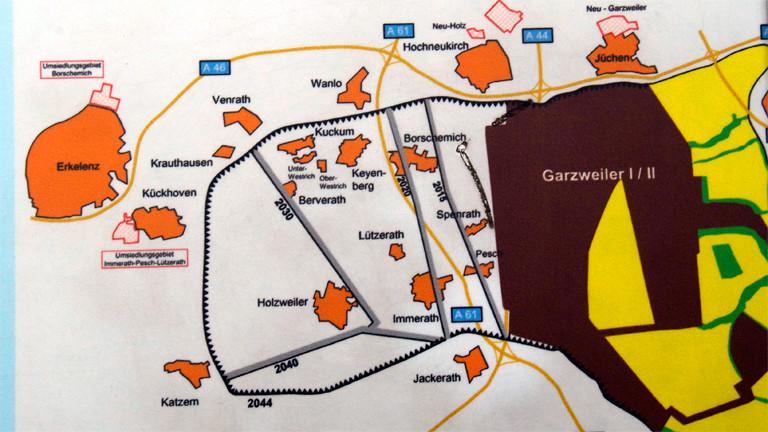 Karte vom Braunkohletagebau Garzweiler II