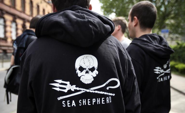 Das Logo von Sea Shepherd - ein Totenkopf auf schwarzer Jacke.