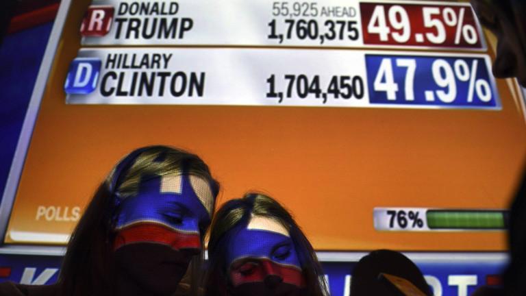 Zwei Clinton-Anhängerinnen während der Wahlnacht am 09.11.2016.