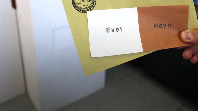 Wahlzettel für die Abstimmung über die Verfassungsänderung in der Türkei