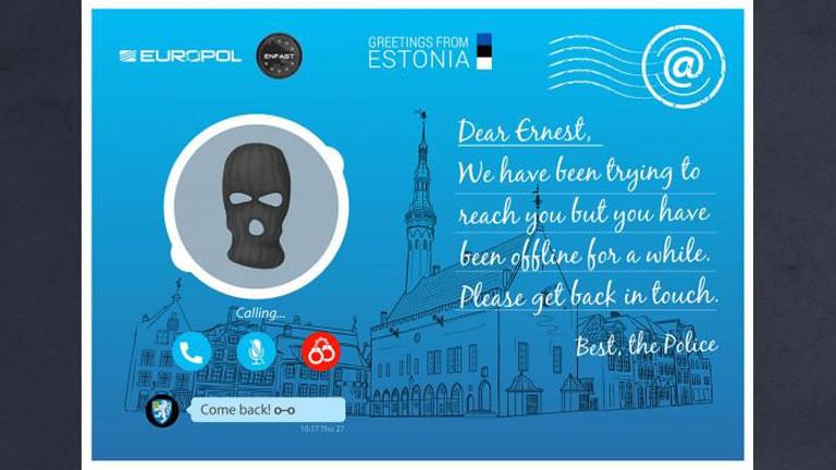 Postkarte für meistgesuchte Verbrecher.