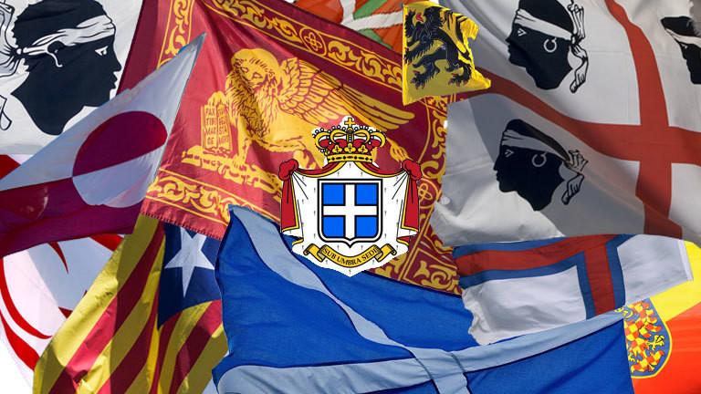 Flaggen von Faröer, Grönland, Siebenbürgen, Schottland, Venetien, Seborga, Flandern, Nordzypern, Korsika, Sardinien, Baskenland, Katalonien