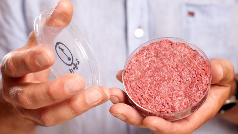 Fleisch in einer runden Plastikdose