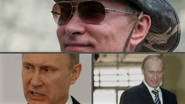 Verschiedene Bilder, die Wladimir Putin zeigen.