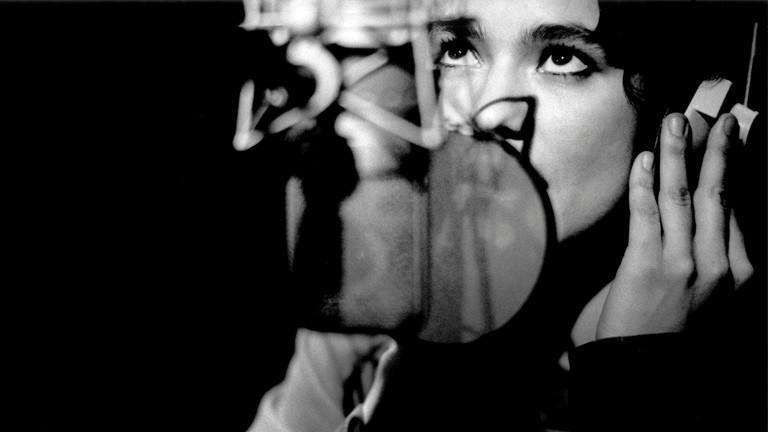 Eine Sängerin vor einem Mikrofon.