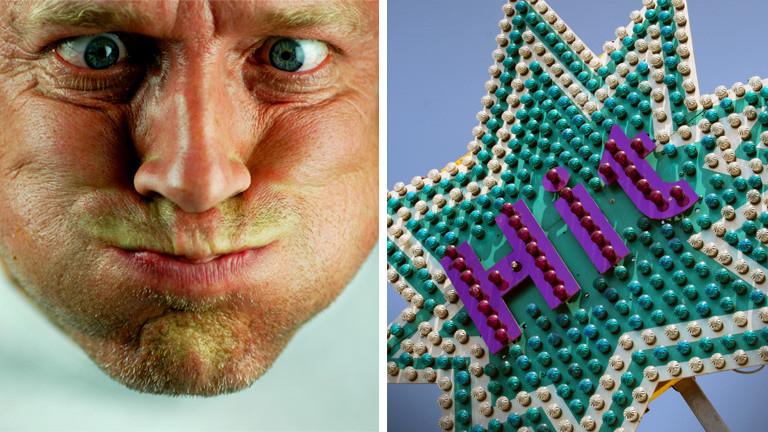 Collage: Hit-Werbeschild, ein Mann zieht eine Grimasse