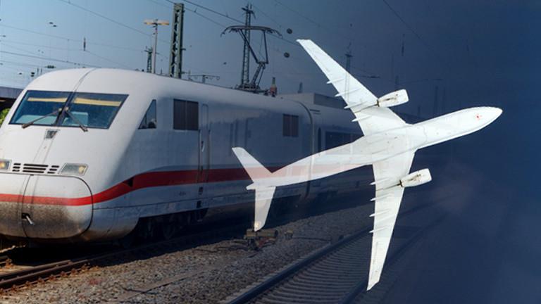 Collage: ICE-Zug und Flugzeug