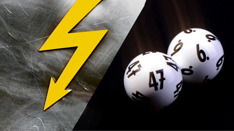 Collage: Blitz und Lottokugeln