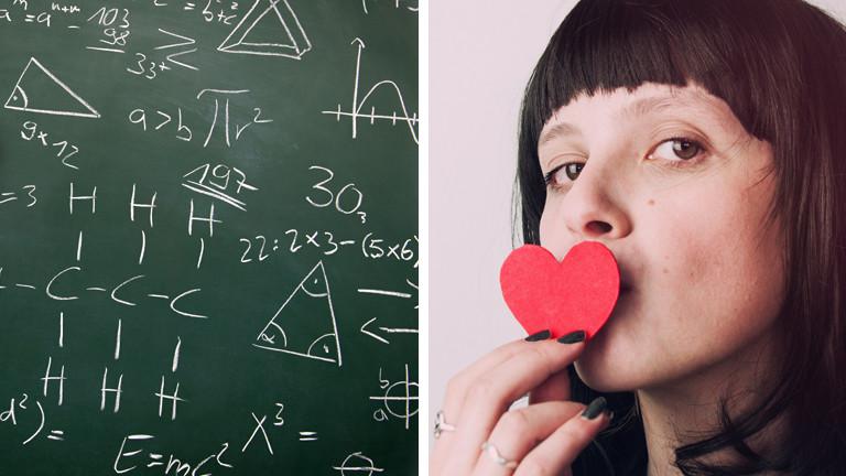 Mathe-Formeln und Frau mit Herz