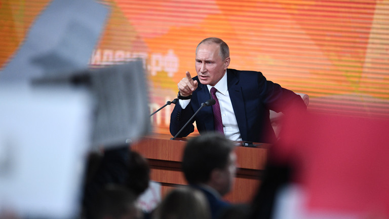 Der russische Präsident Wladimir Putin 2017 bei seiner jährlichen Frage-und-Antwort-Show in Moskau.