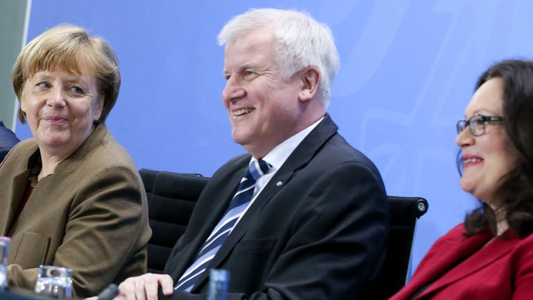 Bundeskanzlerin Angela Merkel, Horst Seehofer und Andrea Nahles