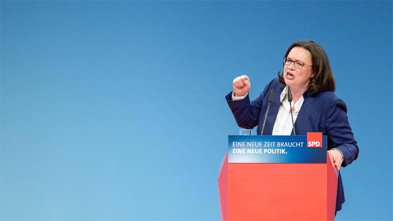 Andrea Nahles spricht am 21. Januar 2018 auf dem SPD Bundesparteitag