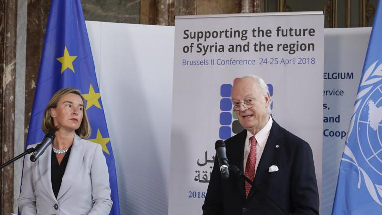 Federica Mogherini (Außenministerin Italiens) und Staffan de Mistura (UNO-Gesandter für Syrien)