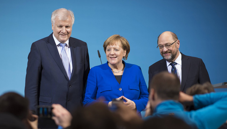 Horst Seehofer, Angela Merkel und Martin Schulz