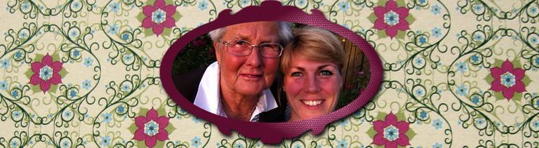 Auf eine alte Tapete ist ein Bild von Autorin Nora Hespers und ihrer Oma montiert